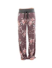 Newbestyle Women Casual Comfy Stretch Floral Print Drawstring Boho Palazzo Pant