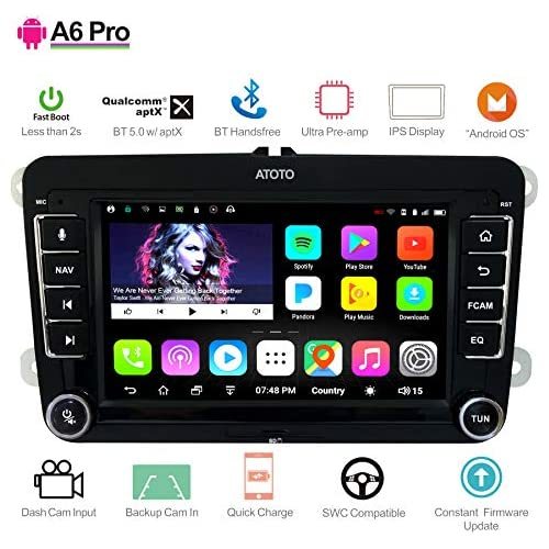 chollos oferta descuentos barato  para Volkswagen VW ATOTO A6 Pro A6YVW721PRB Car Audio Navegación de Video Doble DIN Android 2X Bluetooth con aptX Cargar teléfono móvil Ultra Preamp Radio para Autos Multimedia WiFi y más