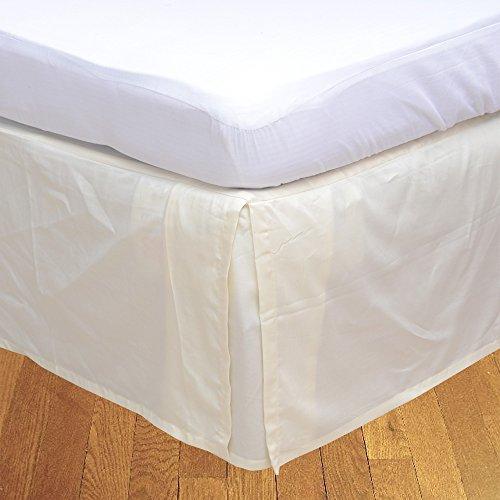 LaxLinens 350 fils cm², 100%  coton, finition élégante 1 jupe plissée de chute lit Longueur    21  Euro, Extra petit beurre de crème simple Ivoire uni