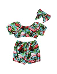 Aunavey Summer Flamingo Clothes Baby Girls Short Sleeve Blouse Tube Top+High Waist Short Pants with Headband