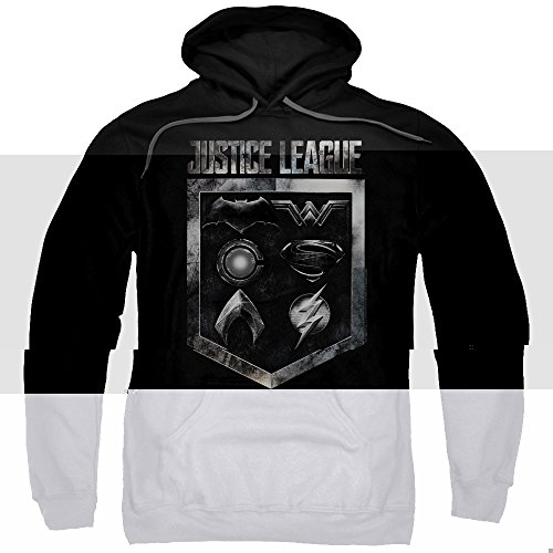 justice+league Products : Justice League Movie Shield Of Emblems-Adult Pull-Over Hoodie-Black