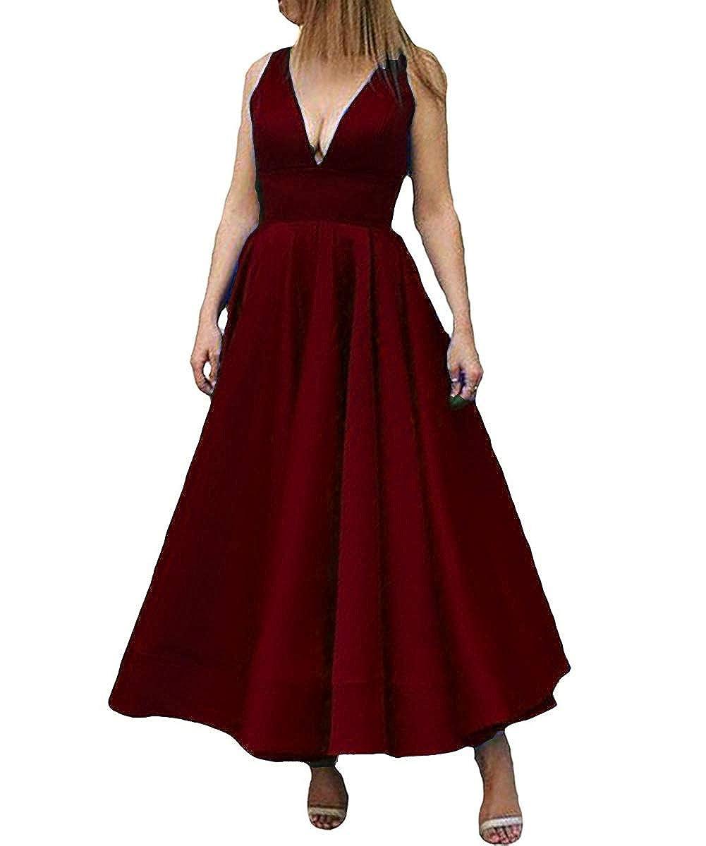 Burgundy Kivary Deep V Neck A Line Ankle Length Corset Backless Formal Prom Evening Dress