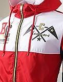 URBANCREWS Mens Hipster Tri-Color Block Full Zip-Up Light Weight Windbreaker Jacket- RED - S