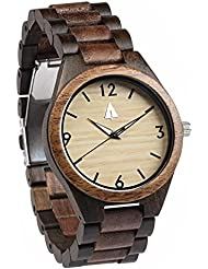 Treehut Mens Walnut and Ebony Wooden Watch with All Wood Strap Quartz Analog...