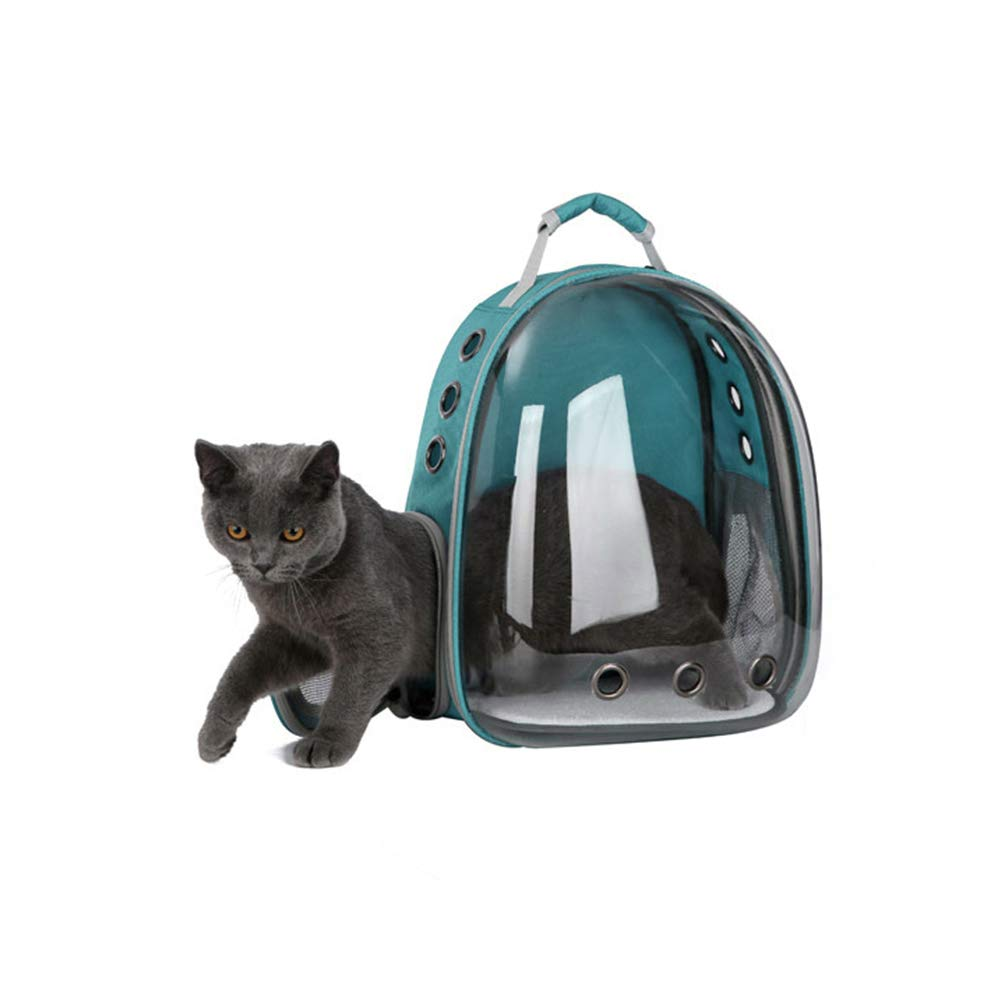 Dark Green Portable pet cat Dog Puppy Backpack Carrier Outdoor Carrying Bag Bubble 360 Degree Transparent Space Capsule Backpack(Dark Green)