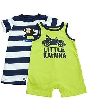 Carters Infant Boys Blue Striped Monkey & Green Little Kahuna Romper Set 3m
