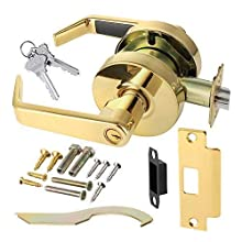 Commercial Cylindrical Lever Heavy Duty Non-Handed Grade 2 Door Handle Lawrence LH5307L (Storeroom (Exterior Only Unlocked W/Key), Polished Brass (US3))