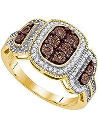 10K Yellow Gold Brandy Diamond Chocolate Brown Eye Catching Ring 1/3 Ctw.