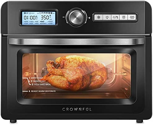 CROWNFUL 19 Quart Air Fryer Toaster Oven, Convection Roaster with Rotisserie & Dehydrator, 10-in-1 Countertop Oven, Original Recipe and eight Accessories Included, UL Listed (Black)