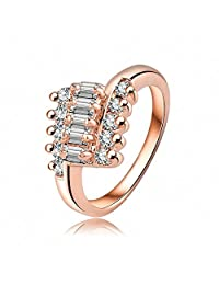 AmDxD Jewelry Rose Gold Plated Wedding Bands for Women 3 Line Square Round Crystal Rose Gold Rings
