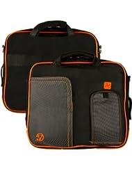 ORANGE TRIM BLACK Pindar Durable Water-Resistant Nylon Protective Carrying Case Messenger Shoulder Bag For Apple...