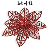 BANBERRY DESIGNS Red Poinsettia Clip On Ornaments - Wreath Decor - Pack of 12 Glitter Poinsettia Flowers with Metal Clips - Holiday Decorations - Artificial Poinsettia Flowers