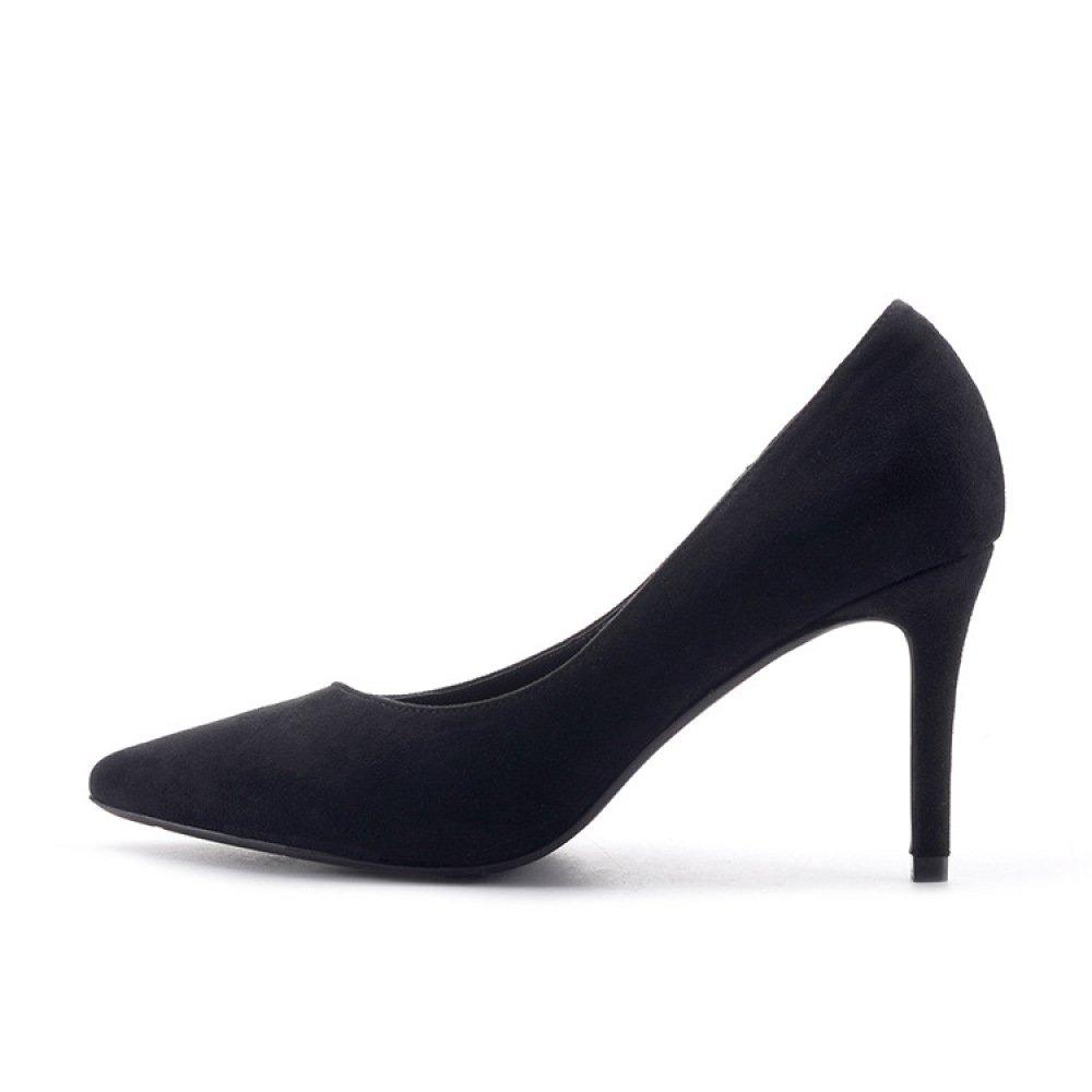 DKFJKI Scarpe da Donna Tacchi Alti Moda Deacute;colleteacute; Tinta Unita Unita Unita Temperamento Pelle Scamosciata Comodo nero 3bf17f