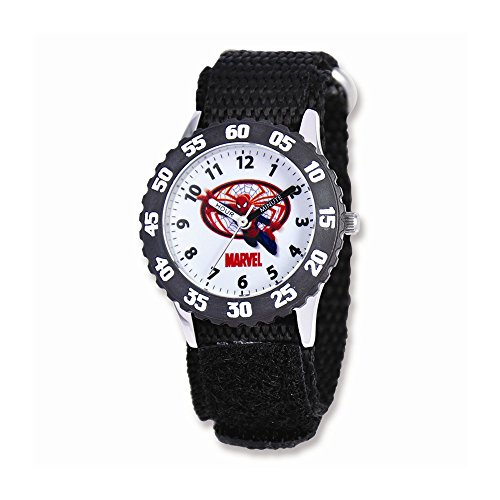 Marvel+Watches Products : Marvel Spiderman Black Velcro Band Time Teacher Watch
