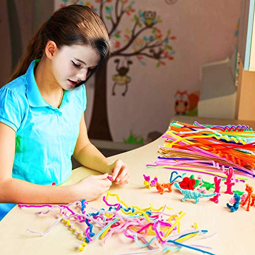 Pipe Cleaners Bulk, 850 Pcs Craft Pipe Cleaners Supplies Set - 300Pcs Chenille Stems, 300Pcs Self-Sticking Wiggle Googly Eyes and 250Pcs Pompoms for DIY School Art Projects, Rainbow Colors