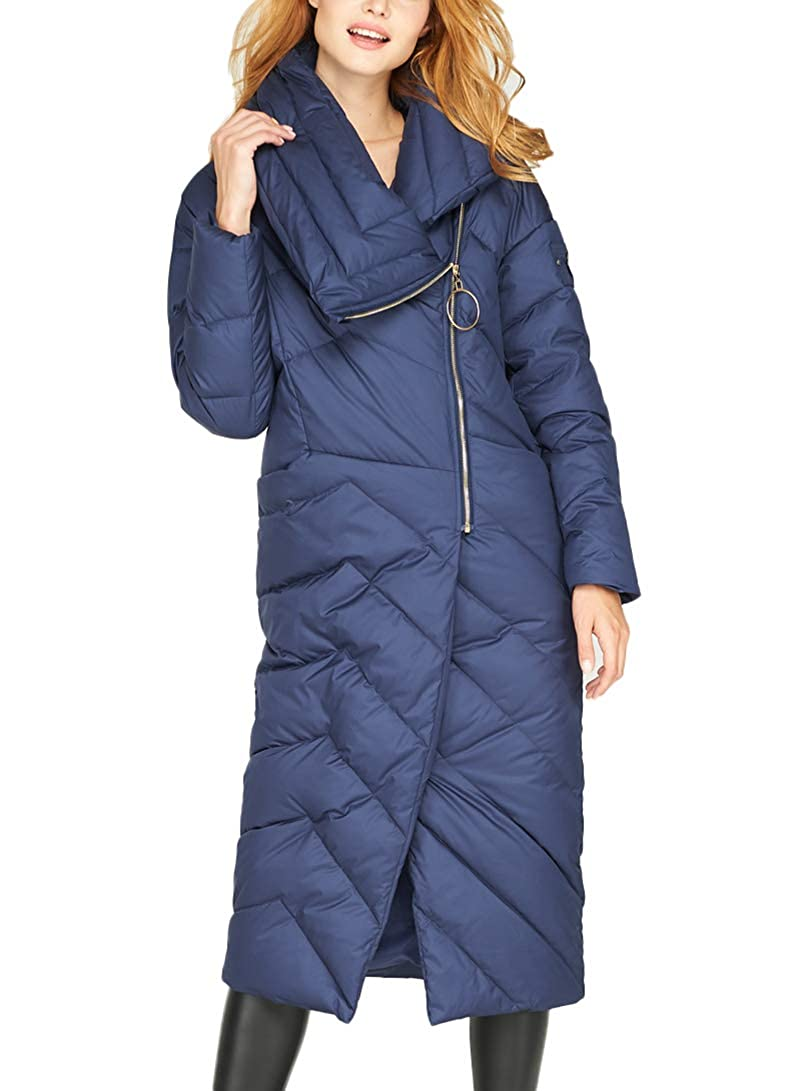 bluee Newdeve Women's Down Jacket Long Winter Thick Warm Parka Overcoat