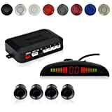 EKYLIN Car Auto Vehicle Reverse Backup Radar System with 4 Parking Sensors Distance Detection + LED Distance Display + Sound Warning (Black Color)