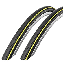 2 x Schwalbe Lugano 700c x 23 Road Racing Bike Tyre (with Puncture Protection) - Yellow 2016