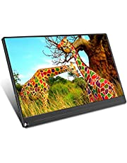MXXQQ Monitor portátil, monitor de jogos Full HD IPS 1920 × 1080, ângulo de visão de 178° e 72% de gama de cores, alto-falante ultrafino embutido, com capa de couro, 12,5 polegadas
