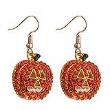 Fashion rhinestone pumpkin shape dangle Hook Earrings Christmas