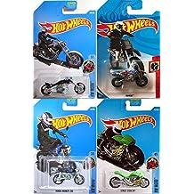 2018 Hot Wheels Motorcycles 3 Set HW Moto Pack Blast Lane Black Chopper 236 & motocross Daredevil HW450 Dirt Bike + Green Street Stealth Racer Speed + Honda Monkey Mini Z50 pack in PROTECTIVE CASES