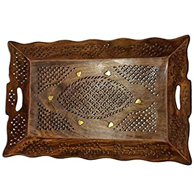 Wood Handmade 14.5 X 10 Inch Tray - Wooden Serving Tray with Brass Etchings Unique Design