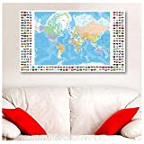 "Alonline Art - Political Modern Flags World Map Synthetic CANVAS Not framed +GIFT 34""x20"" - 86x51cm Prints Giclee Poster Wall Decor Pictures Painting Paints Wall Art Paintings Posters"