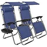 Bonnlo 2 PCS Zero Gravity Chair with Canopy Patio Lounge Chair, Adjustable Folding Shade Reclining Chairs with Cup Holder and Headrest for Beach Garden, Pack of 2 (Blue)