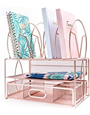 $46 » IKORA Rose Gold Office Desk Organizer & Desk Accessories For Women. Multifunctional workspace organizer for papers, documents, files, folders, pens, accessories and office supplies