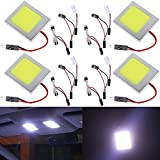 4-Pack AMAZENAR® Aluminum White COB 48-SMD LED Panel Dome Lamp Auto Car Interior Reading,Plate Light,Roof Ceiling,Map Lamp with BA9S Adapter,T10 Adapter,Festoon Adapter(31mm-41mm) (DC-12V)