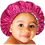 YANIBEST Baby Satin Bonnet Sleep Cap for Curly Hair - Double Layer Reversible Adjustable Silky Satin Cap for Teens Toddler Ch