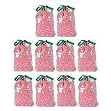 Artibetter bolsa de dulces bolsas de tratamiento de cordón de doble capa portátiles bolsillos de dulces para navidad 10 piezas rojo