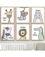 MAQ Baby Jungle kwekerij muurdecoratie kunstfoto's, 30x21cm ongekaderde Cartoon Safari Animal muur muurschilderingen/Poster voor baby & kinderen woonkamer slaapkamer badkamer