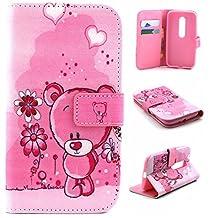 Moto G 3rd Gen Case,Gift_Source [Pink Bear] [Wallet Function] [Stand Feature] Magnetic Snap Case Wallet Premium Wallet Case Flip Case Cover for Motorola Moto G3 (3rd Generation)