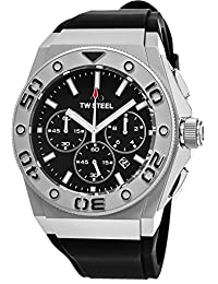 TW Steel CEO Diver Stainless Steel Watch - Black Dial Date TW Steel Watch Mens - Black Rubber Band 44mm Chronograph Dive Watch CE5008
