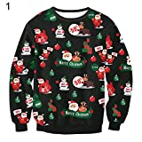 angel3292 Xmas Pattern Long Sleeve Pullover Outwear Women's Reindeer Snowman Sweater Gift