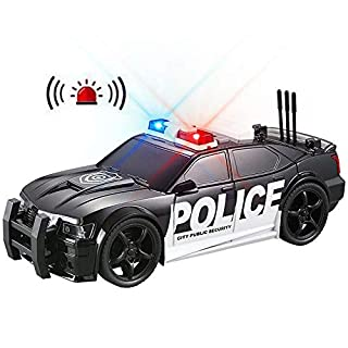 YEAM Police Car Toy Plastic Pursuit Rescue Vehicle with Sirnes Sound and Light for Kids Toddlers Boys 1:20