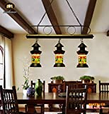 Makenier Retro Industrial Vintage Tiffany Style Stained Glass 3-light Dragonfly Baron Lantern Dining Room Bar Pendant Lamp - 5.9 Inches Shade