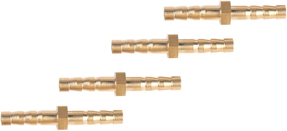 4-4mm Quick Connect Barb Tail Reducer Plug Connector Pipe Adapter Fittings Good Sealing and Durable 4 Pcs Brass Hose Fitting