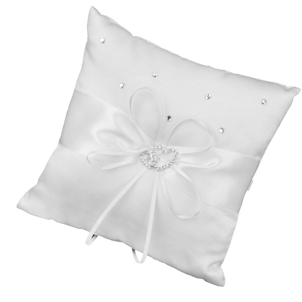 Generic - 20 x 20 cm doble boda del corazón de bolsillo del anillo portador almohada cojín --- s, color blanco L-FENG-UK AMZN-PECE-Chain