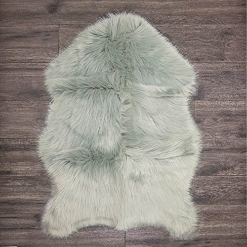 Bedroom Collection Vanity - Clara Clark Faux Fur Sheepskin Rug - Couch Stool Vanity Seat Cover - Bedroom, Kids Rooms, Living Room Floor Australian Rug - 24x36 Inches - Silver