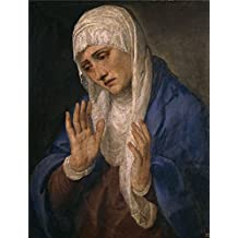 The high quality polyster Canvas of oil painting 'Titian [Vecellio di Gregorio Tiziano] Mater Dolorosa 1555 ' ,size: 8 x 11 inch / 20 x 27 cm ,this High Resolution Art Decorative Prints on Canvas is fit for Bathroom artwork and Home artwork and Gifts