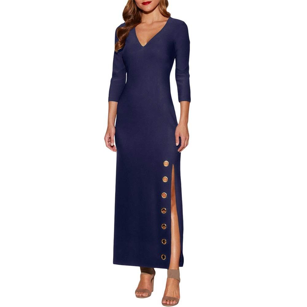 Black Women's Evening Dress Elegant Women Long Sleeve Split Maxi Long Dresses Evening Party Ladies Long Dress (color   Black, Size   XL)