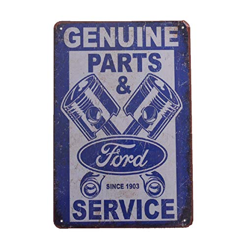 Retro Vintage Tin Metal Sign, Ford Genuine Parts & Service, Wall Decor for Home Garage Bar Man Cave, 8x12/20x30cm ()