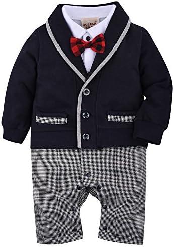 (ゾエレア) ベビースーツ 男の子の服 スーツ風カバーオール子供服男児 長袖 紺グレ