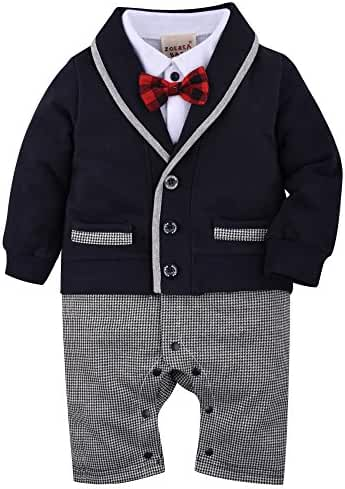 ZOEREA Baby Boys Romper Suits Bow Tie Baptism Wedding Tuxedo Jumpsuit Cotton