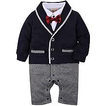 ZOEREA Baby Boys Romper Suits Bow Tie Baptism Wedding Tuxedo Jumpsuit Cotton