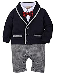 ZOEREA Baby Boys Tuxedo Gentleman Onesie Overalls Jumpsuit Wedding Suit 3-18M