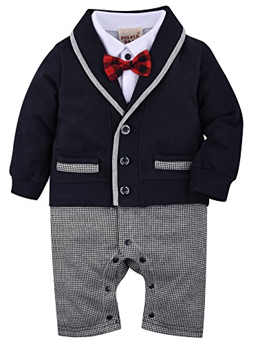 Infant Suit (ZOEREA Baby Boys Romper Suits Bow Tie Baptism Wedding Tuxedo Jumpsuit Cotton, Navy, Label 60/Age 3-6 Months)