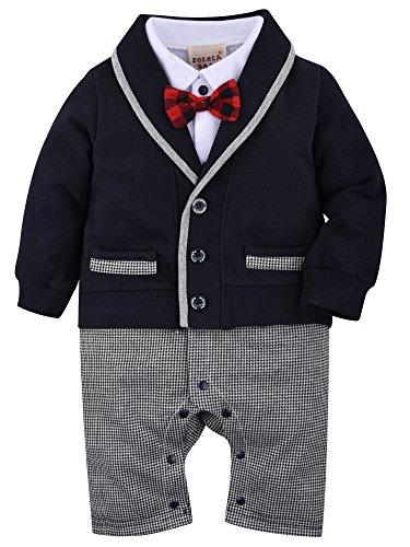 a6a835caf ZOEREA 1pc Baby Boys Tuxedo Gentleman Onesie Romper Jumpsuit Wedding Suit 3-18  M
